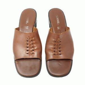 Vintage Connie Lynn Brazil Slip On Leather Sandals